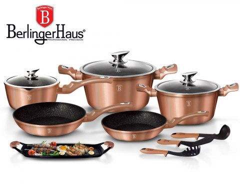 GARNKI BERLINGER HAUS METALLIC LINE ROSE GOLD 12 ELE BH-1696